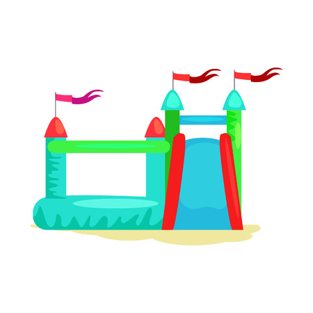 Inflatable castle vector. Bouncy castle, playground, amusement park. Childhood concept. Vector illustration can be used for topics like entertainment, leisure, festival
