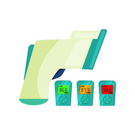 Vector de termómetro infrarrojo. Medición de temperatura, pirómetro, termómetro láser. Concepto de termómetro. La ilustración vectorial se puede utilizar para temas como tecnología, industria, herramientas de diagnóstico. Ilustración de vector