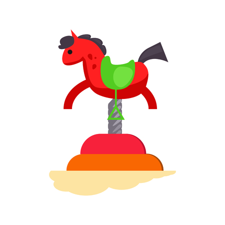 Red rocking horse vector. Playground, carousel, attraction. Childhood concept. Vector illustration can be used for topics like entertainment, leisure, kindergarten Illustration