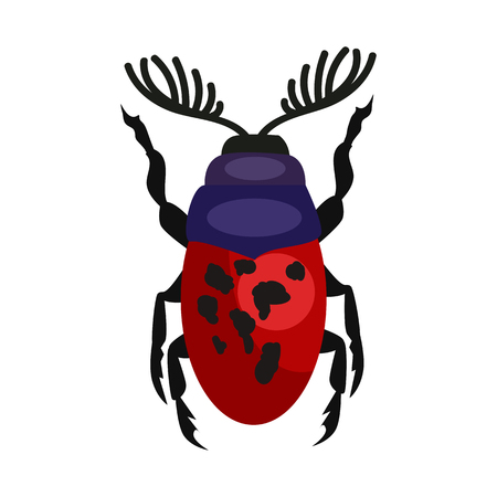 Red spotted stag beetle isolated vector. Bug, leaf beetle, entomology. Insects concept. Vector can be used for topics like nature, biology, environment