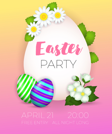 Easter Party, April twenty first lettering, decorated eggs and flowers. Easter party invitation. Handwritten and typed text, calligraphy. For posters, invitations, banners, leaflets and brochures.