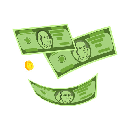 Falling dollars and coin vector. Money rain, winning money, gain. Money concept. Vector illustration can be used for topics like finance, banking, economy