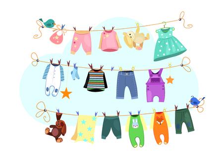 Babykleidung eingestellt. Wäschesammlung trocknen. Kann für Themen wie Wäsche, Hausarbeit, Kinderkleidung verwendet werden