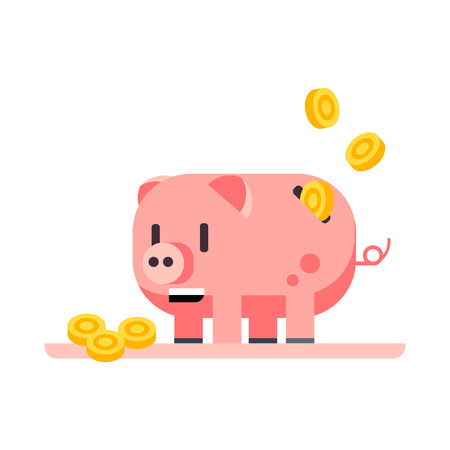 Coins falling into piggy bank vector. Income, saving, coin bank. Money concept. Vector illustration can be used for topics like finance, banking, business Foto de archivo - 125143998
