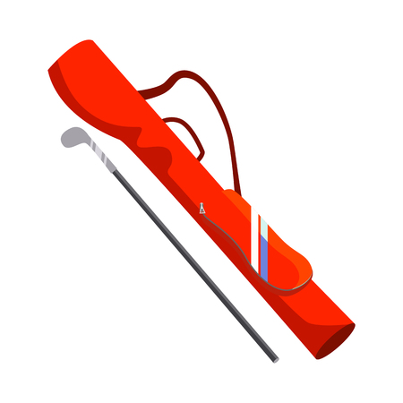 Golf club and orange bag vector. Sports equipment, game, leisure. Golf concept. Vector illustration can be used for topics like sport, hobby, recreation