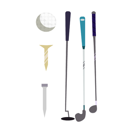 Golf equipment collection vector. Golf clubs, tees, ball. Golf concept. Vector illustration can be used for topics like sport, hobby, recreation