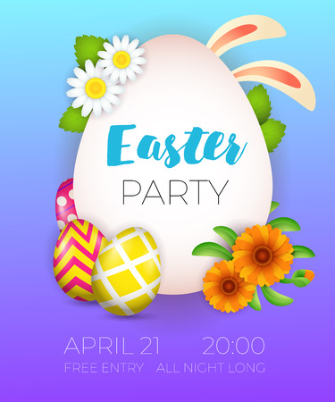 Easter Party lettering, bunny ears, eggs and flowers. Easter party invitation. Handwritten and typed text, calligraphy. For posters, invitations, banners, leaflets and brochures.