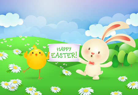 Happy Easter lettering on banner held by bunny and chick. Easter greeting card. Typed text, calligraphy. For greeting cards, posters, invitations, banners, leaflets and brochures. Illustration