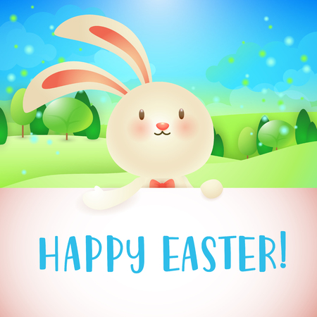 Happy Easter lettering, bunny, spring landscape with forest. Easter greeting card. Typed text, calligraphy. For greeting cards, posters, invitations, banners, leaflets and brochures.