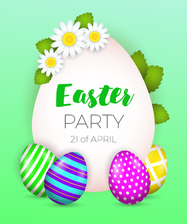 Easter Party, twenty first of April lettering with flowers and eggs. Easter party invitation. Handwritten and typed text, calligraphy. For posters, banners, leaflets and brochures.