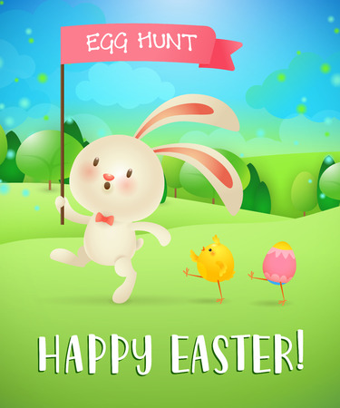 Happy Easter, egg hunt lettering, bunny, chick, egg, landscape. Easter greeting card. Typed text, calligraphy. For greeting cards, posters, invitations, banners, leaflets and brochures.