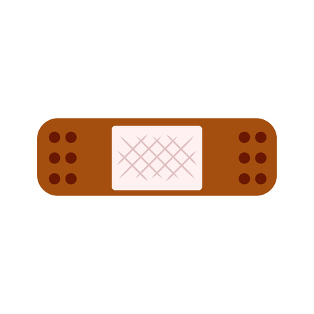 Adhesive bandage. Plaster, tape, patch. Cure concept. Vector illustration can be used for topics like wound, bleeding, healing