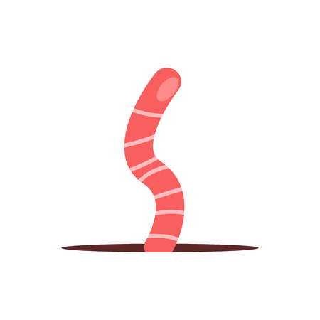 Red cartoon worm. Ground, garden, earthworm. Spring concept. Vector illustration can be used for topics like nature, fauna, lawn Banque d'images - 118573970