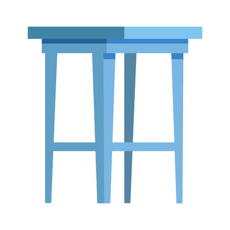 Blue stool flat icon. Kitchen, seat, table. Chairs concept. Vector illustration can be used for topics like furniture, store catalogue, houseware