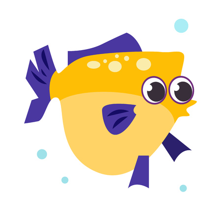 Flounder fish flat icon. Fish, aquarium, pet. Sea cartoon characters concept. Vector illustration can be used for topics like animals, marine life, nature