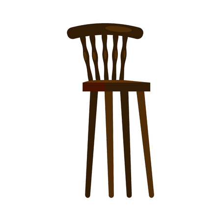 High wooden chair. Nursery, kitchen, retro chair. Chairs concept. Vector illustration can be used for topics like furniture, store catalogue, houseware