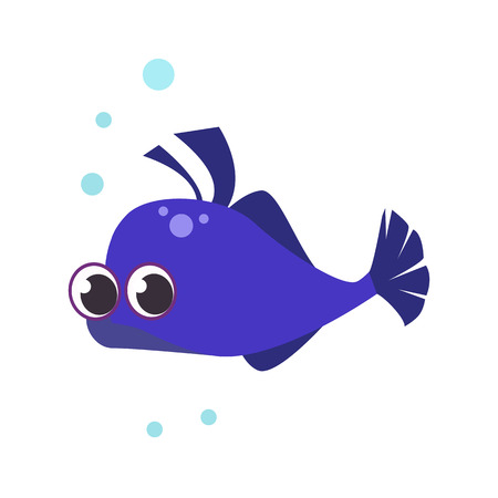 Little blue fish flat icon. Underwater fish, aquarium, pet. Sea cartoon characters concept. Vector illustration can be used for topics like animals, marine life, nature