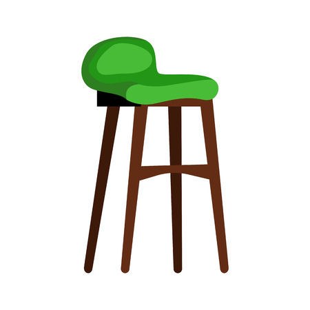 Modern green padded stool flat icon. Living room, lounge chair, restaurant. Chairs concept. Vector illustration can be used for topics like furniture, store catalogue, houseware