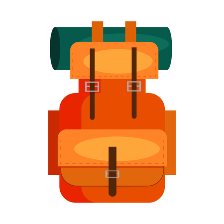 Touristic backpack. Baggage, rucksack, pack, bag. Trekking concept. Vector illustration can be used for topics like mountain tourism, hiking, expedition