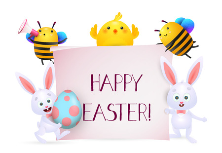Happy Easter lettering with chick, bees and bunnies characters. Easter greeting card. Typed text, calligraphy. For leaflets, brochures, invitations, posters or banners. Illustration