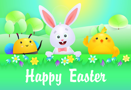 Happy Easter lettering with cute bunny, chicken and bee. Easter greeting card. Handwritten text, calligraphy. For leaflets, brochures, invitations, posters or banners.