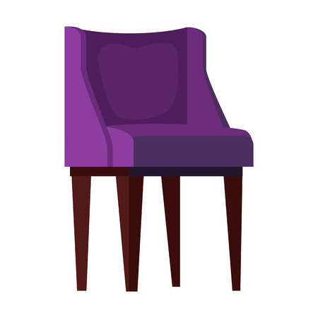 Purple armchair flat icon. Couch, relaxation, resting. Chairs concept. Vector illustration can be used for topics like furniture, store catalogue, houseware