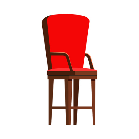 Red wooden chair flat icon. Seat, arm chair, kitchen chair. Chairs concept. Vector illustration can be used for topics like furniture, store catalogue, houseware