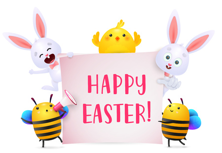 Happy Easter lettering with bunnies, chicken and bees characters. Easter greeting card. Typed text, calligraphy. For leaflets, brochures, invitations, posters or banners.
