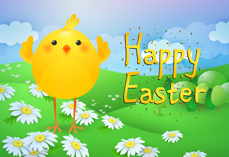 Happy Easter lettering with cute chicken on lawn. Easter greeting card. Typed text, calligraphy. For leaflets, brochures, invitations, posters or banners.