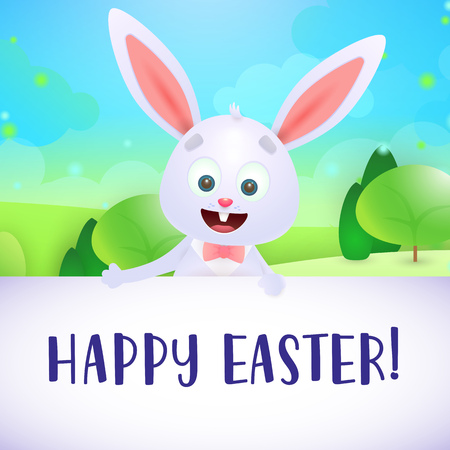Happy Easter lettering with cute rabbit and landscape. Easter greeting card. Typed text, calligraphy. For leaflets, brochures, invitations, posters or banners.