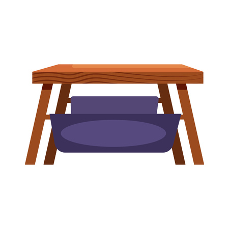 Wooden coffee table with hammock flat icon. Bench, stool, living room. Chairs concept. Vector illustration can be used for topics like furniture, store catalogue, houseware 向量圖像