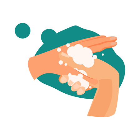 Finger washing illustration. Water, soap, washing hands. Hygiene concept. Vector illustration can be used for healthcare, hygiene Reklamní fotografie - 124799029