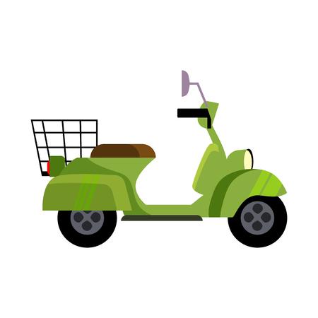 Green motor bike illustration. Vehicle, driving motorbike, acivity. Transport concept. Vector illustration can be used for topics like trip, vehicles, transportation Standard-Bild - 124799034