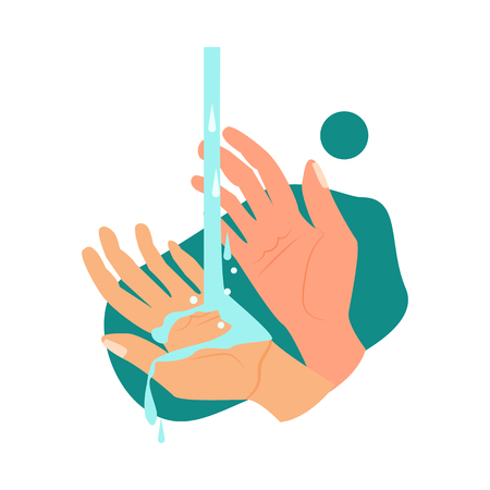 Hands and water illustration. Water, washing hands. Hygiene concept. Vector illustration can be used for healthcare, purity, hygiene Reklamní fotografie - 124799038
