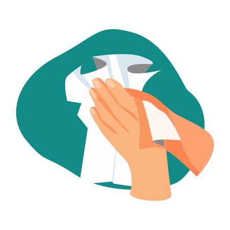 Illustrazione di asciugatura delle mani. Asciugamano, pulizia, mani. concetto di igiene. L'illustrazione vettoriale può essere utilizzata per l'assistenza sanitaria, la purezza, l'igiene