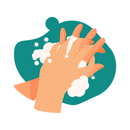 Hands washing illustration. Water, soap, cleaning. Hygiene concept. Vector illustration can be used for healthcare, purity, hygiene Reklamní fotografie - 124799040