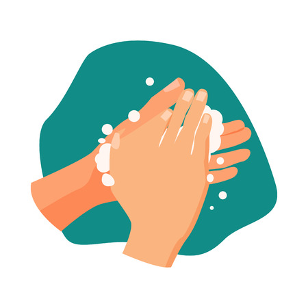 Hands with soap foam illustration. Water, soap, washing hands. Hygiene concept. Vector illustration can be used for healthcare, skincare, hygiene Reklamní fotografie - 124799041