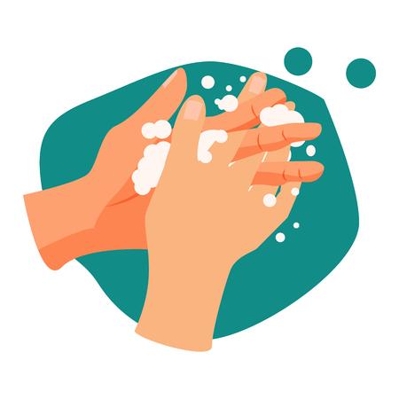 손 씻기 그림입니다. 물, 손 씻기, 청소. 위생 개념입니다. 벡터 일러스트 레이 션은 건강 관리, 스킨 케어, 위생에 사용할 수 있습니다.