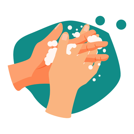 Handwashing illustration. Water, washing hands, cleaning. Hygiene concept. Vector illustration can be used for healthcare, skincare, hygiene 스톡 콘텐츠 - 124799042