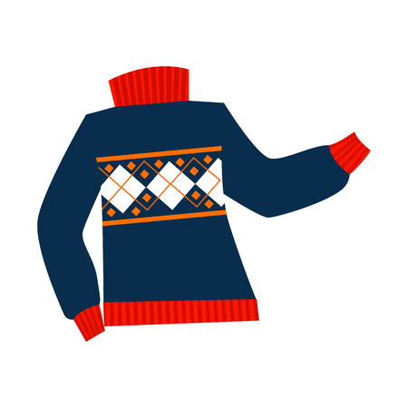 Knitted sweater illustration. Warm clothing, winter, cold time. Fashion concept. Vector illustration can be used for topics like shopping, wardrobe, winter Illustration