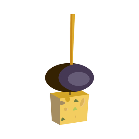 Olive with cheese illustration. Product, snack, eating. Food concept. Vector illustration can be used for topics like snacks, natural food, eco production