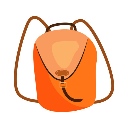 Orange backpack illustration. Bag, active lifestyle. Fashion concept. Vector illustration can be used for topics like shopping, accessory, travelling
