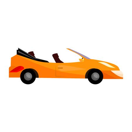 Orange sport car illustration. Vehicle, auto, cabriolet. Transport concept. Vector illustration can be used for topics like trip, transportation, travelling Standard-Bild - 124799057
