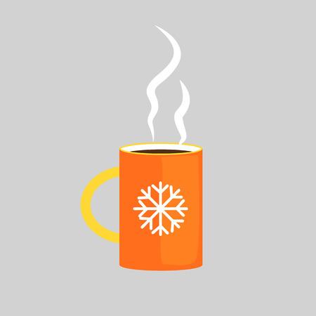 Orange winter mug illustration. Hot drink, tea, coffee Winter concept. Vector illustration can be used for topics like winter, drinks, restaurant, cafe
