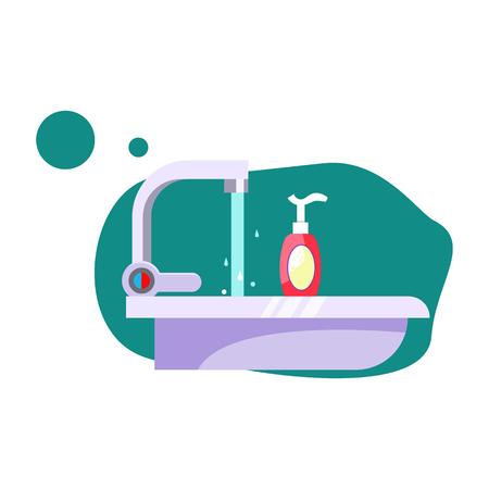 Bathroom sink illustration. Water, tap, soap. Hygiene concept. Vector illustration can be used for healthcare, hygiene, washing Reklamní fotografie - 124799063
