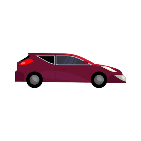 Red car illustration. Auto, driving, vehicle. Transport concept. Vector illustration can be used for topics like automobile, transportation Standard-Bild - 124799068