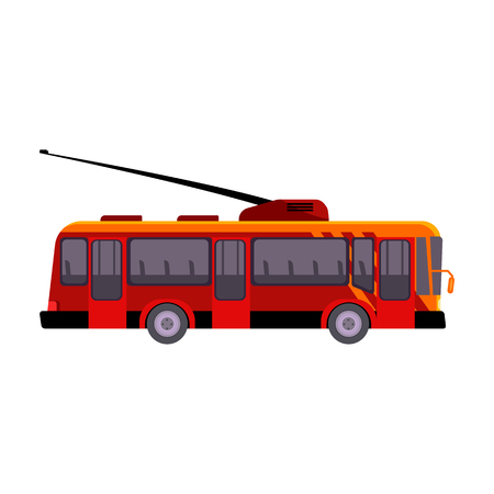 Red tramway illustration. Auto, driving, electro vehicle. Transport concept. Vector illustration can be used for topics like social service, transportation Standard-Bild - 124799072