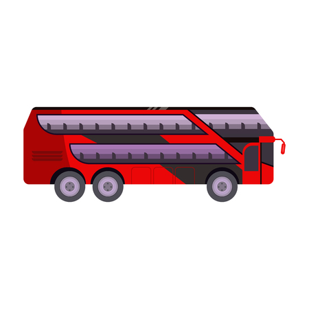 Red two-decker bus illustration. Vehicle, trip, autobus. Transport concept. Vector illustration can be used for topics like transportation, travelling, tourism Standard-Bild - 124799074