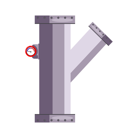 Pipe detail illustration. Steel, communication, house. Engineering concept. Vector illustration can be used for topics like leakage, repair service, construction Reklamní fotografie - 124799079
