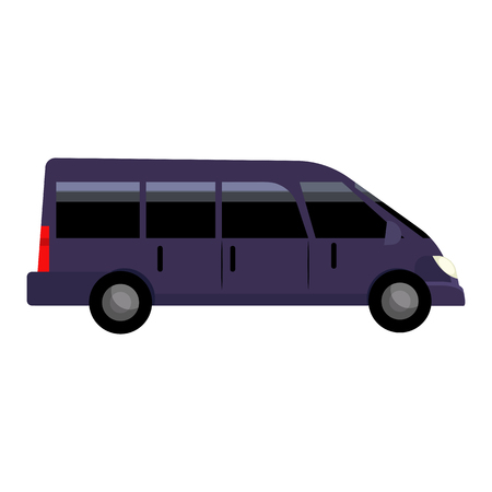 Black minivan illustration. Bus, auto, vehicle. Transport concept. Vector illustration can be used for topics like transportation, trip, logistics Standard-Bild - 124799082